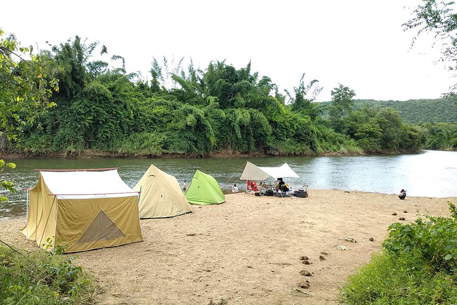 กางเต็นท์ริมแม่น้ำแคว-หาดหิน แคมป์ปิ้ง ไทรโยค